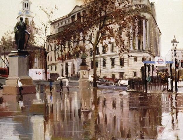 """Rain, Rain, Rain, Trafalgar Square."" original fine art by Adebanji Alade"
