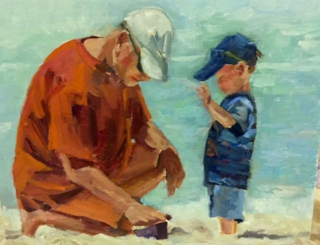 """D D and Edward"" original fine art by Wanda Lowery"