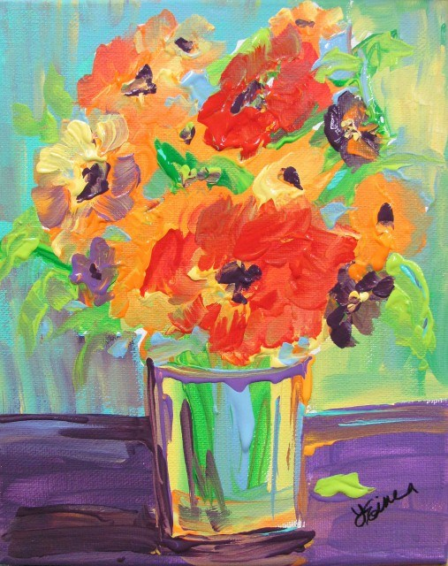 """Day 19-30 Paintings in 30 Days-Flower Burst"" original fine art by Terri Einer"