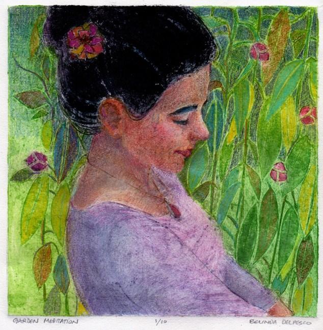 """Collagraph: Garden Meditation"" original fine art by Belinda Del Pesco"