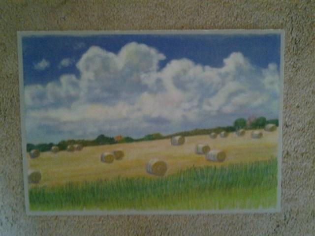 """Wheat Straw Bales"" original fine art by Elaine Shortall"