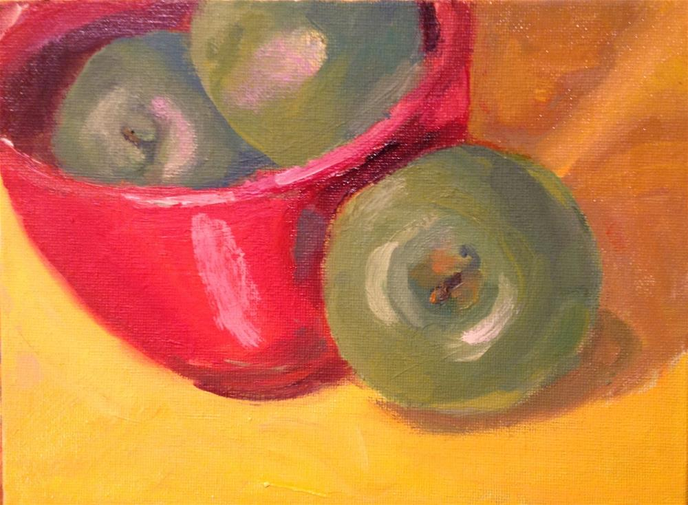 """Red Bowl"" original fine art by Marcia Bergtholdt"