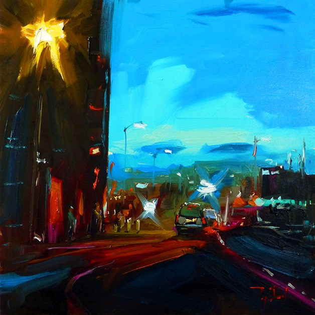 """Abend, Stadt"" original fine art by Jurij Frey"