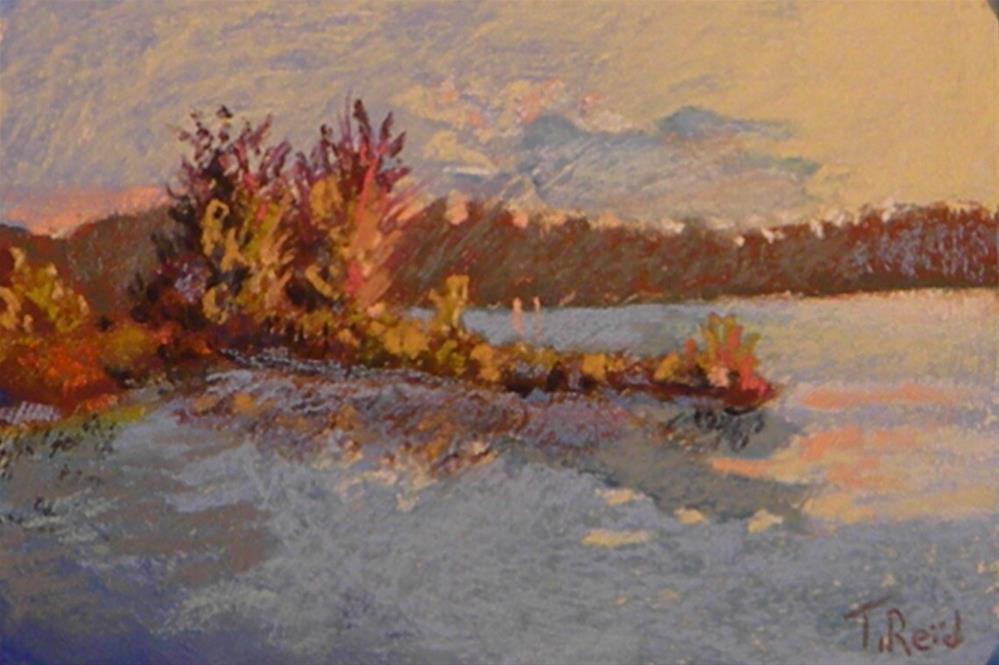 """Sunset on the lake"" original fine art by Toby Reid"