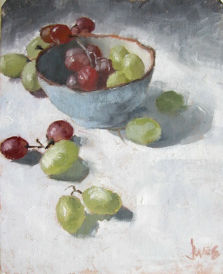 """Bowl and Grapes"" original fine art by Richard Jones"