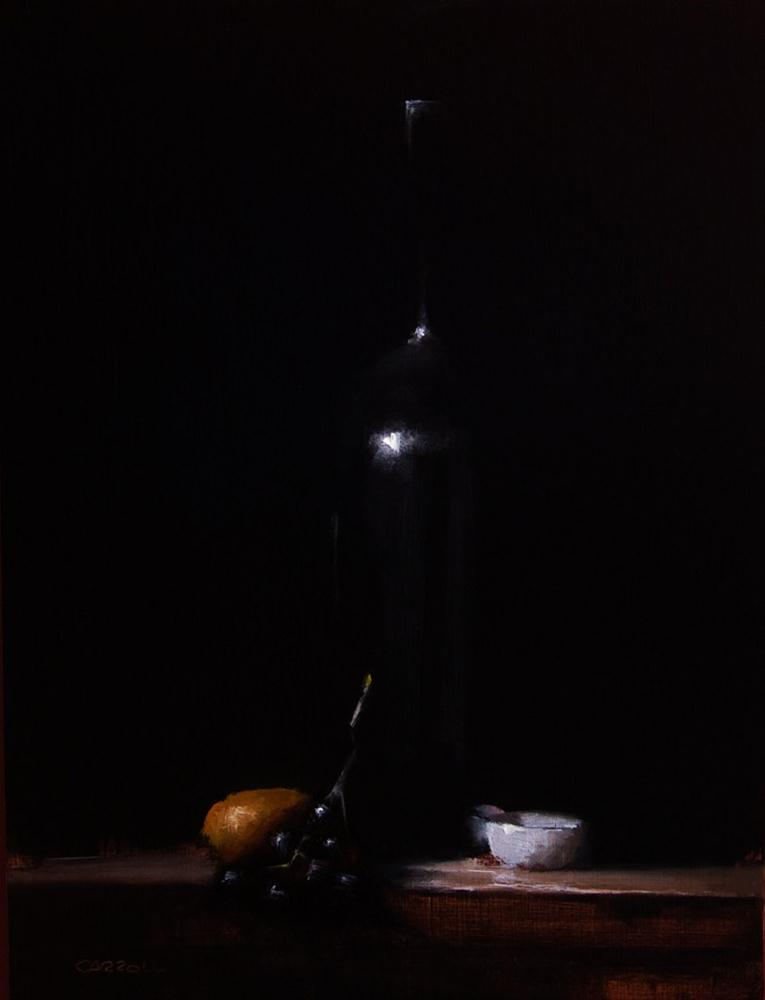 """Bottle with Grapes"" original fine art by Neil Carroll"
