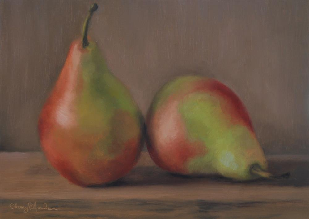 """Colorful Pears"" original fine art by Cheryl Meehan"