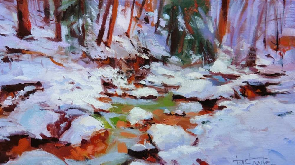 """Frozen river"" original fine art by Víctor Tristante"