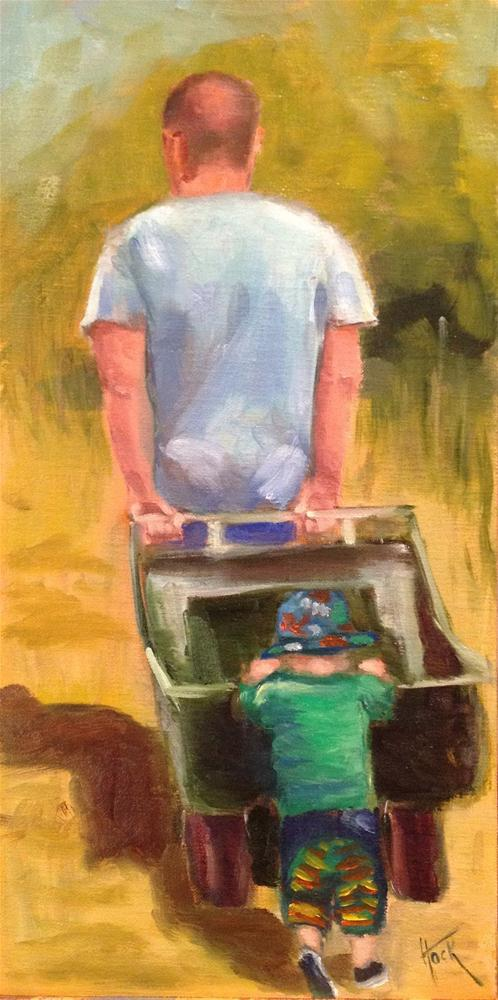"""Daddy's Helper - A trip to the beach"" original fine art by Maria Bennett Hock"