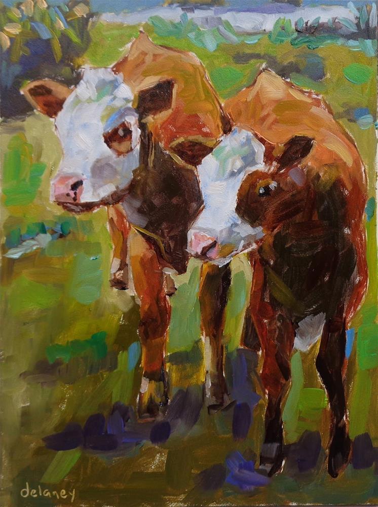 """Cow 134 UNDIVIDED ATTENTION"" original fine art by Jean Delaney"