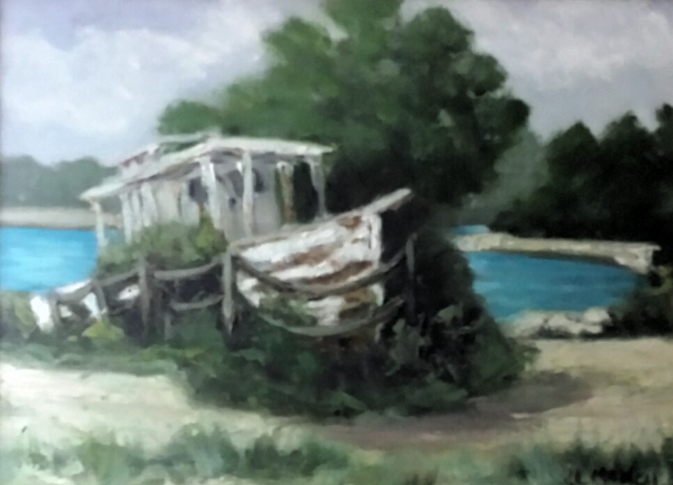 """ABANDONED SHRIMP BOAT"" original fine art by Tracy Wilkerson"