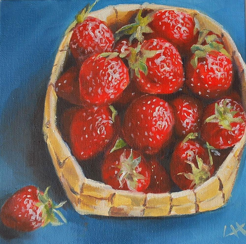 """Strawberries in basket"" original fine art by Hui (Hue) Li"
