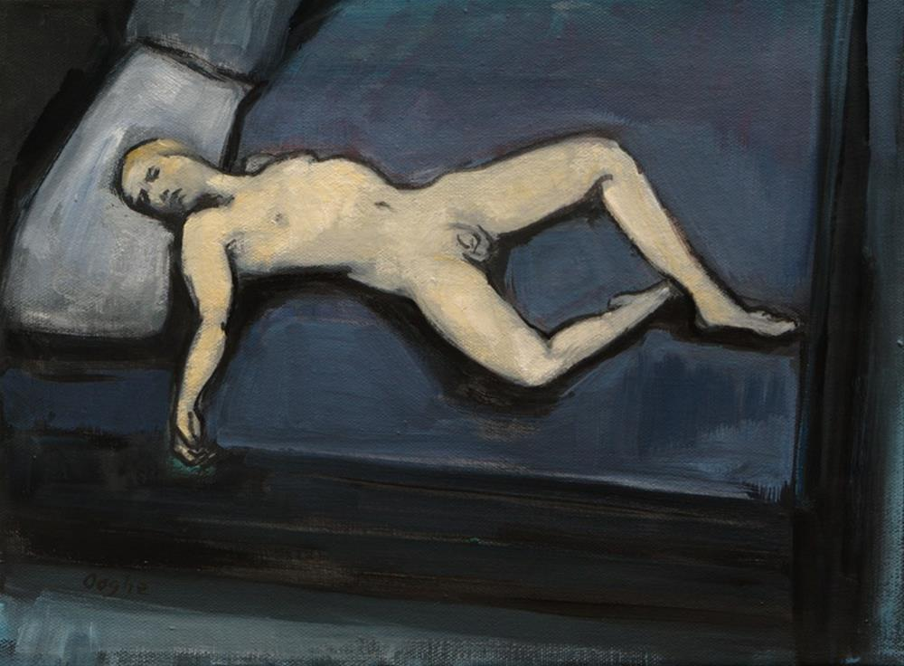 """Male Nude on Bed"" original fine art by Angela Ooghe"