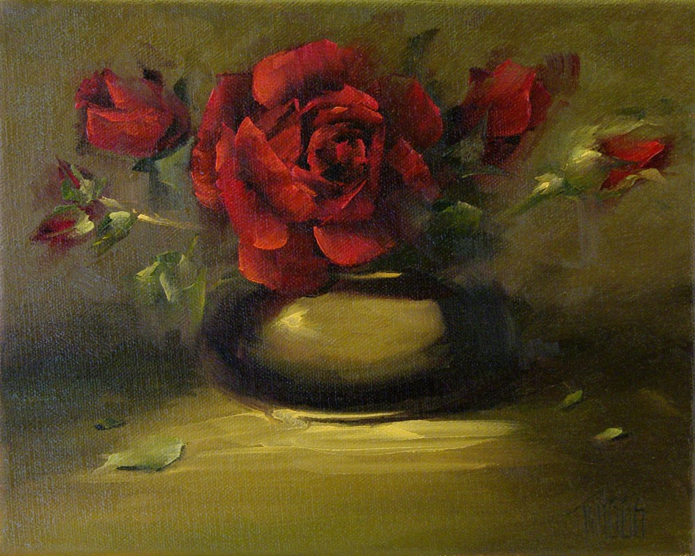 """Red Rose Study Out Burst"" original fine art by Lori Twiggs"