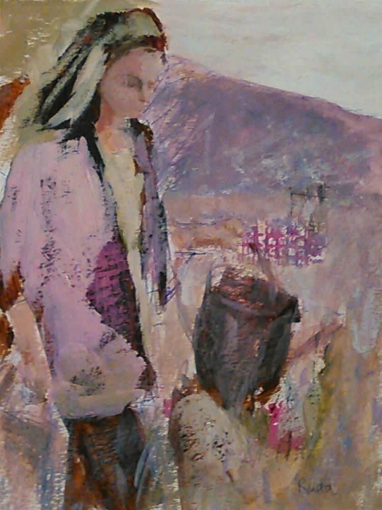 """""""Gardening in Ballet Pink"""" original fine art by Ann Rudd"""