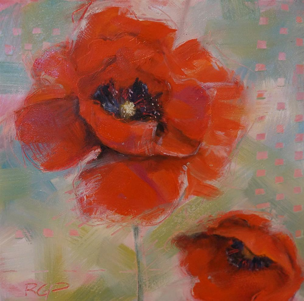 """2 Poppies in the Wind"" original fine art by Rhea  Groepper Pettit"