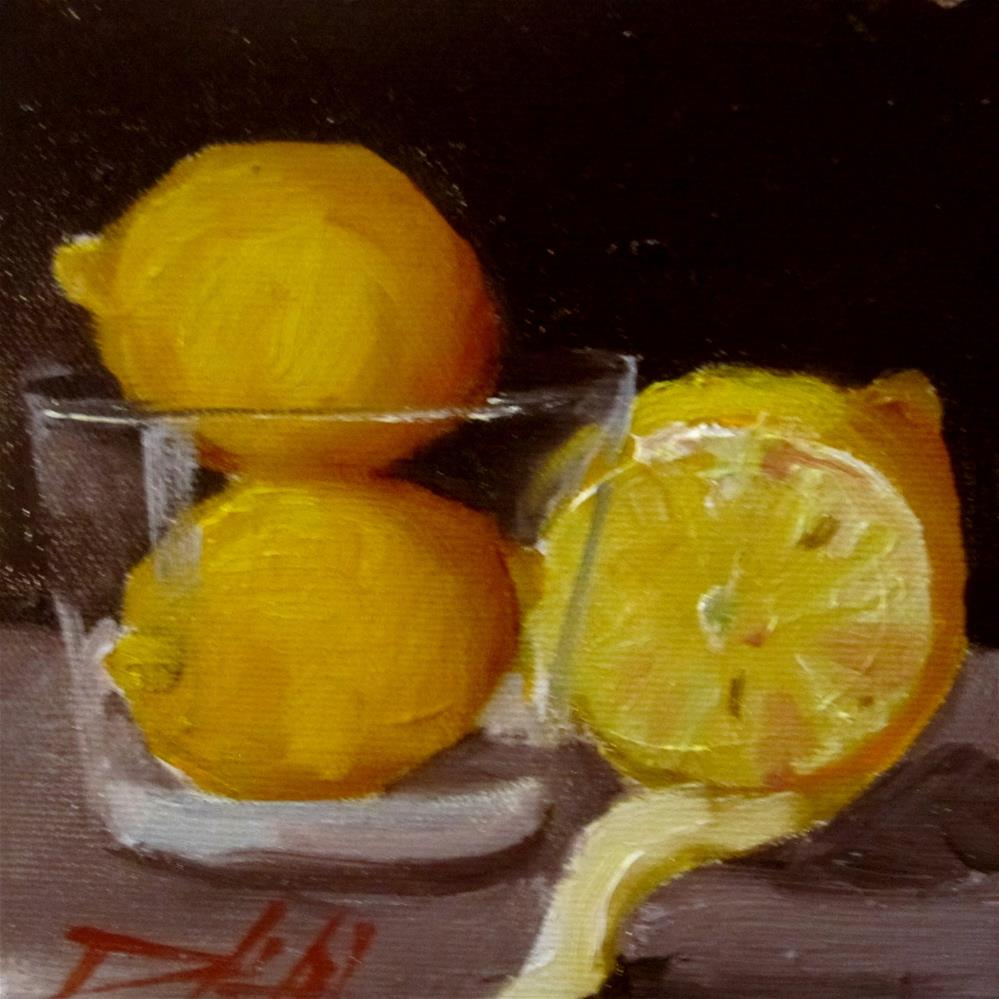 """Lemons in a Glass"" original fine art by Delilah Smith"