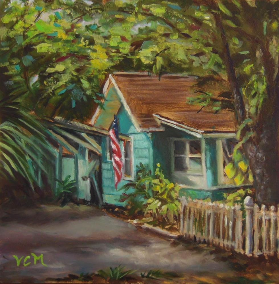 """Little Turquoise House"" original fine art by Vana Meyers"