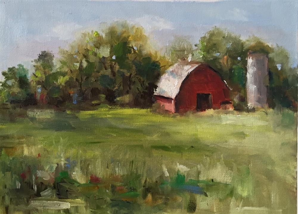 """The Old Red  Barn"" original fine art by Marcia Hodges"