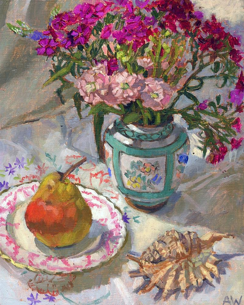 """Garden Flowers and Pear"" original fine art by Angie Wood"