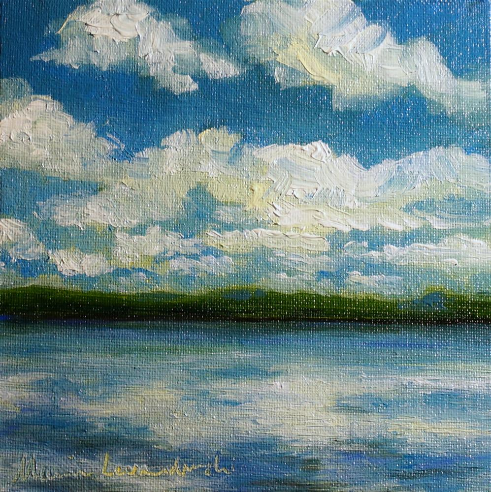 """Cloud Filled Lake"" original fine art by Maria Levandowski"