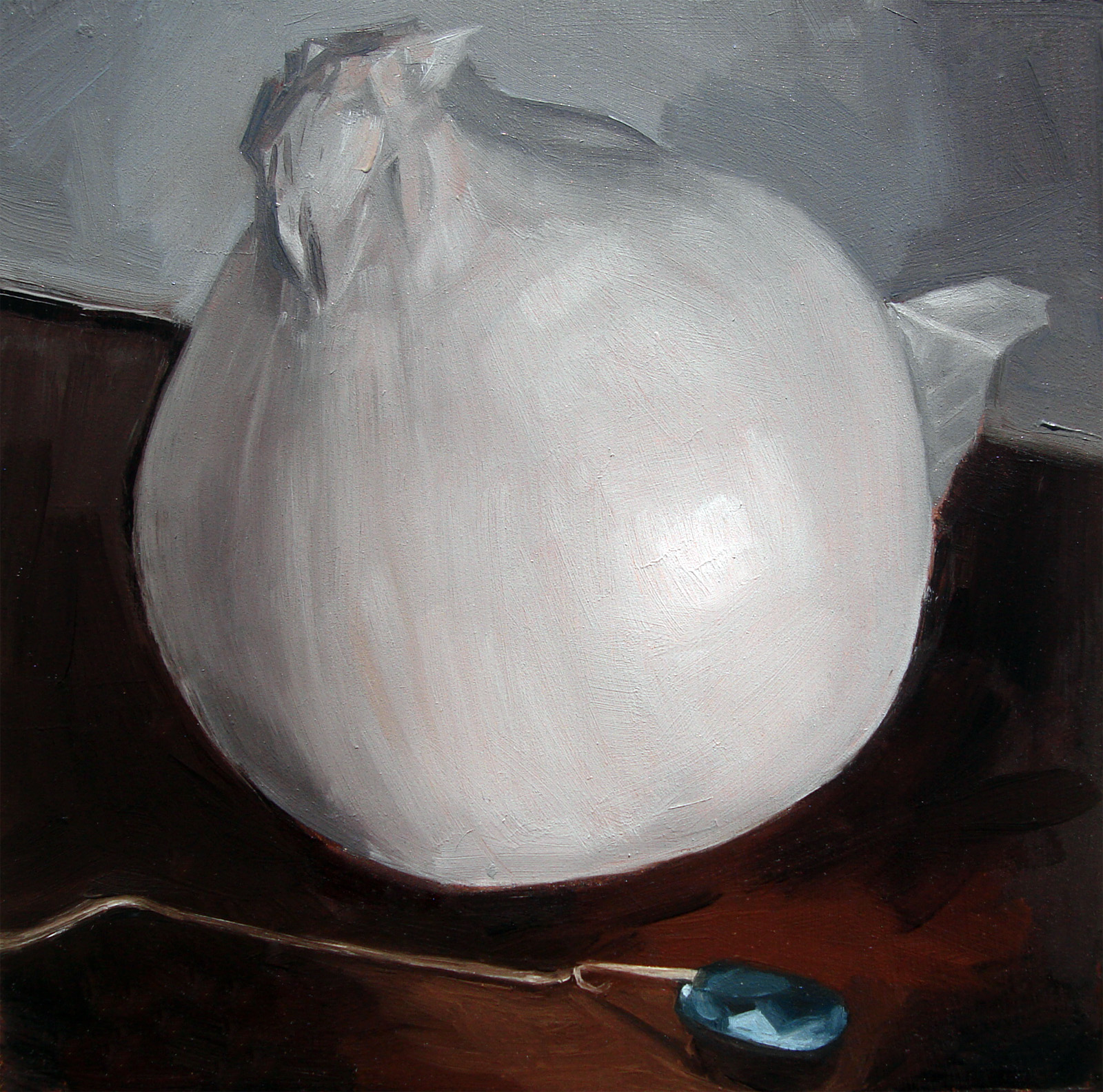 """White Onion and Aquamarine Necklace (no.32)"" original fine art by Michael William"