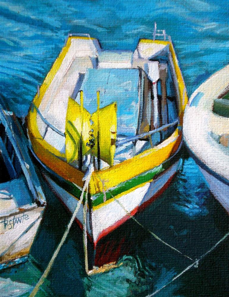 """Yellow boat"" original fine art by Víctor Tristante"
