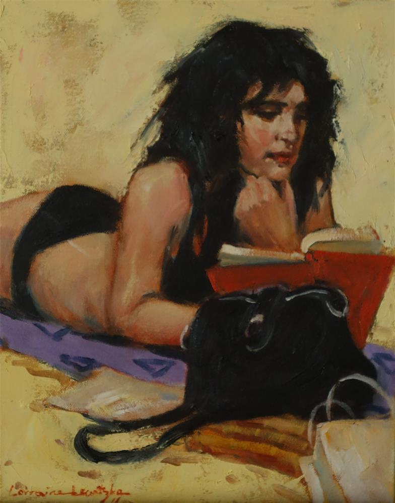 """Studying on the Beach"" original fine art by Lorraine Lewitzka"