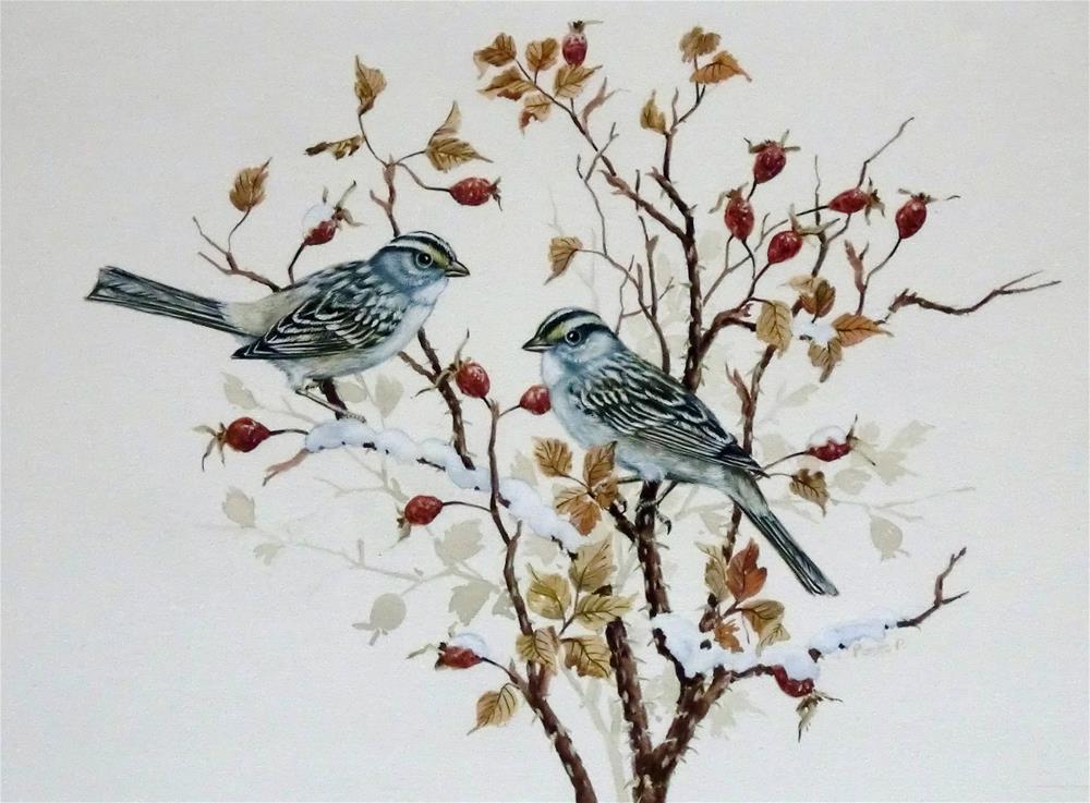 """White-Throated Sparrows"" original fine art by Jean Pierre DeBernay"