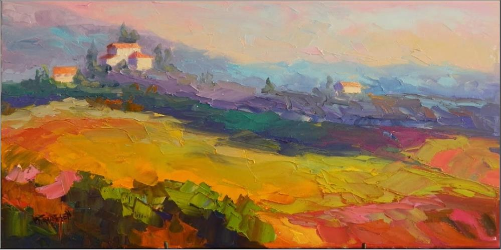 """Morning in Umbria, 12x24, oil on canvas, vineyards, paintings of Umbria, Italy, Tuscany, rolling f"" original fine art by Maryanne Jacobsen"