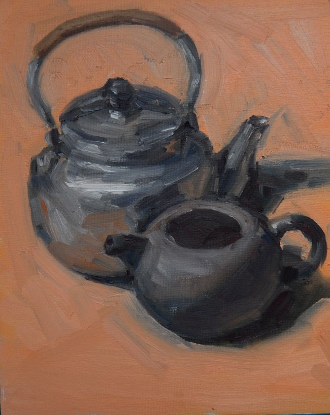"""Pots on Pink"" original fine art by Megan Schembre"