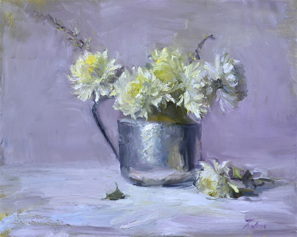 """Chrysanthemums in Silver"" original fine art by Kelli Folsom"