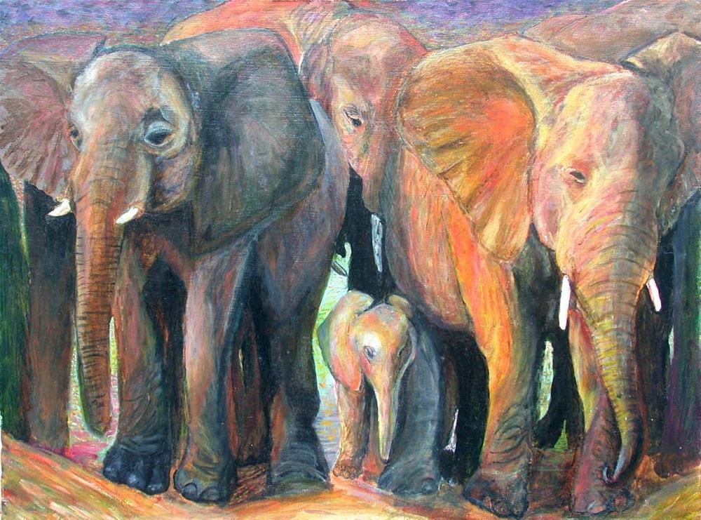 """Elephant Sunset"" original fine art by Carol Sakai"