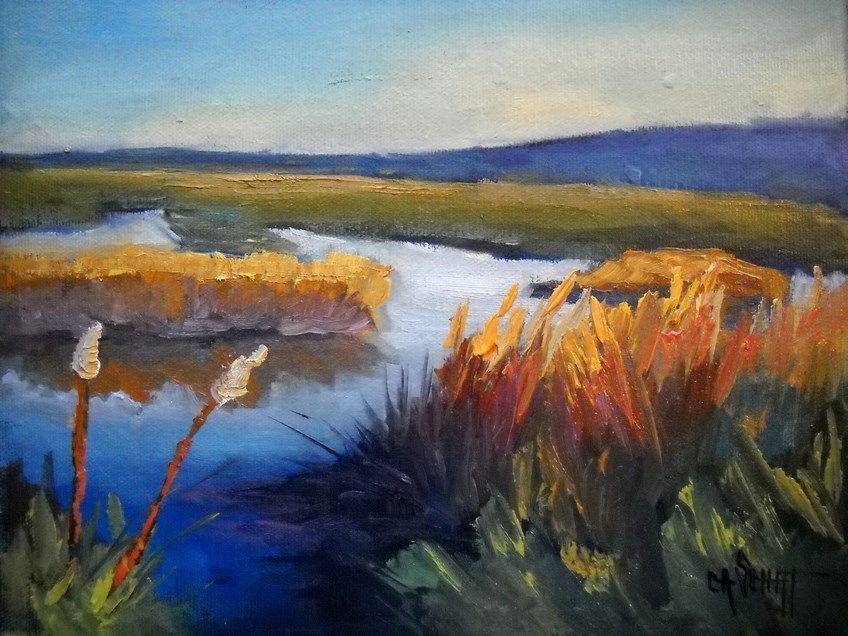 """Marsh Landscape Painting, Daily Painting, Small Oil Painting, North Florida Marsh by Carol Schiff,"" original fine art by Carol Schiff"