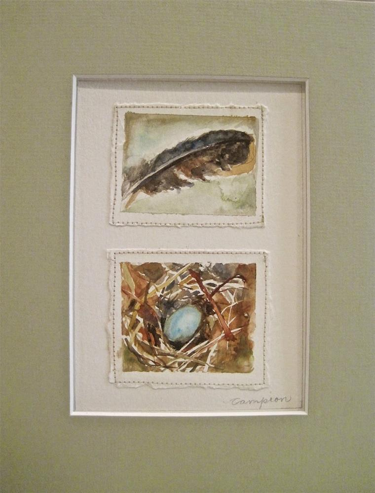 """394 One Little Egg and a Feather"" original fine art by Diane Campion"