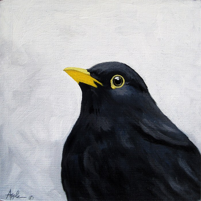 """Blackbird realism animal art oil painting"" original fine art by Linda Apple"