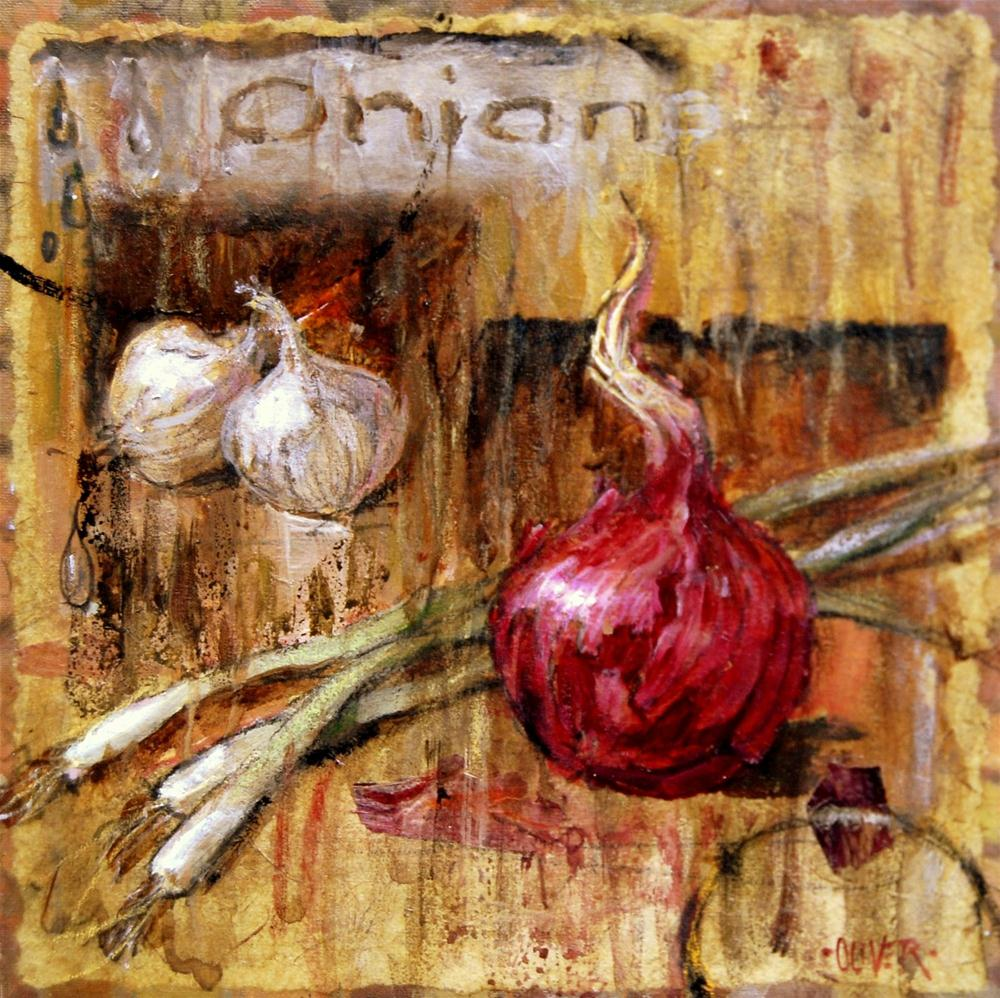 Peoples Choice Award - O is for Onion original fine art by Julie Ford Oliver