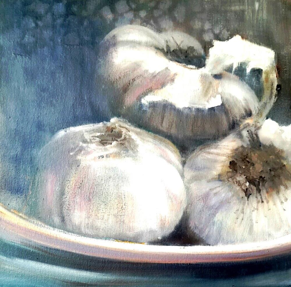 """Garlic trio"" original fine art by Rentia Coetzee"