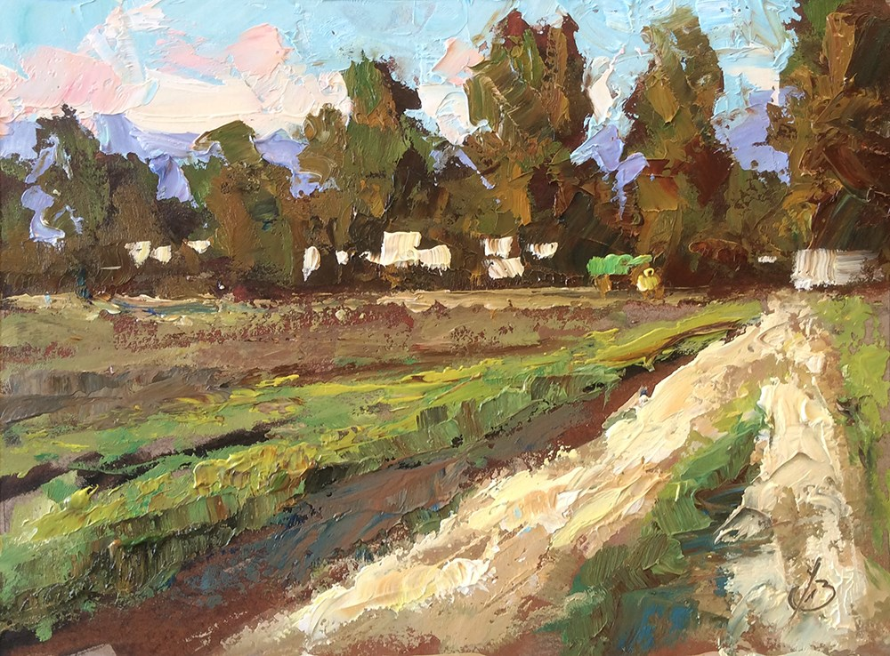 """PLEIN AIR STUDY, FARM AT SUNSET"" original fine art by Tom Brown"