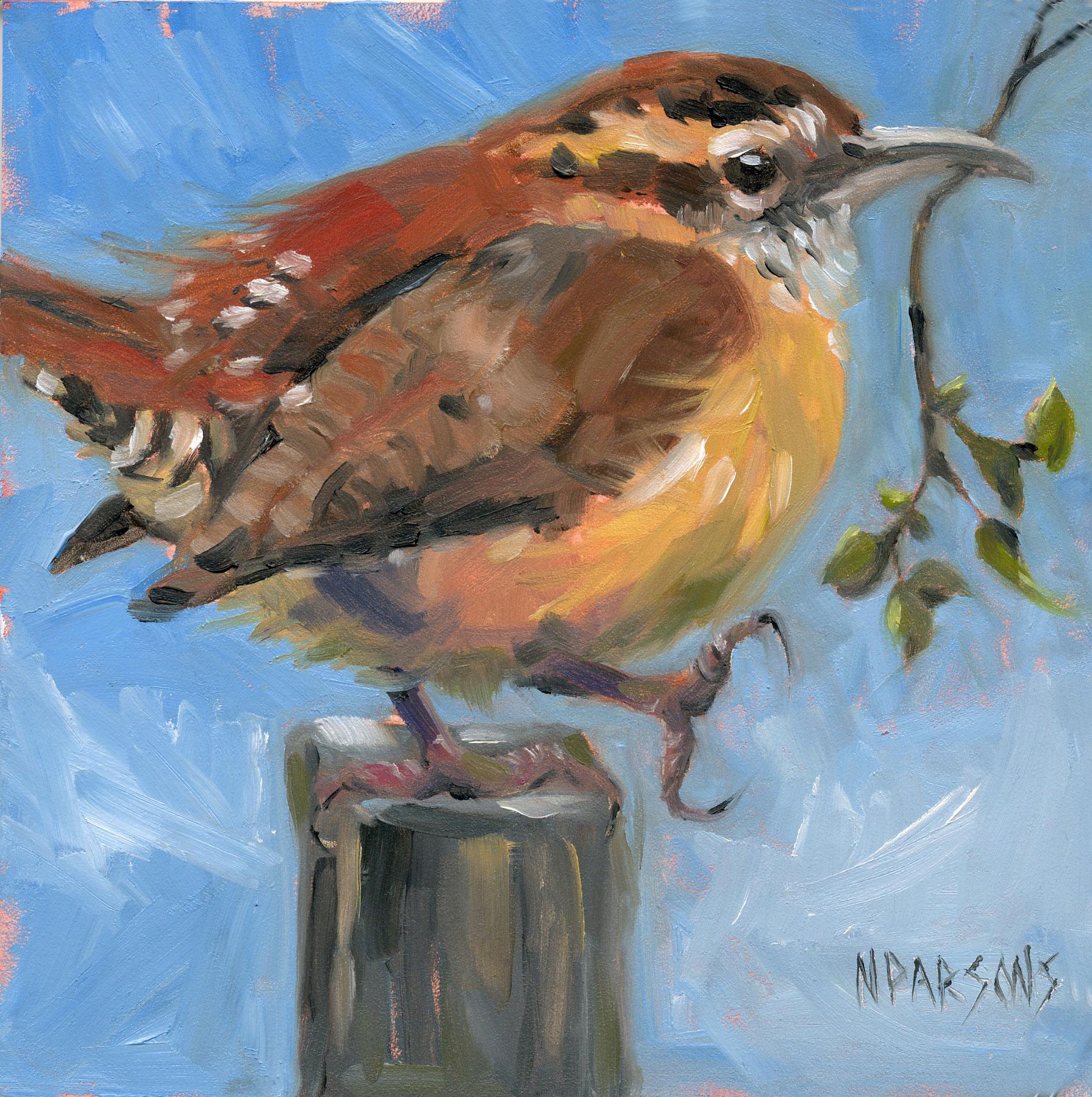 """""""When, When Little Wren"""" original fine art by Nancy Parsons"""