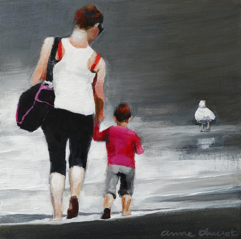 """Let's get our feet wet!"" original fine art by Anne Ducrot"