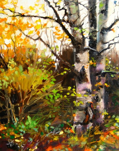 """Birch Trees at the Arboretum  oil landscape painting"" original fine art by Robin Weiss"