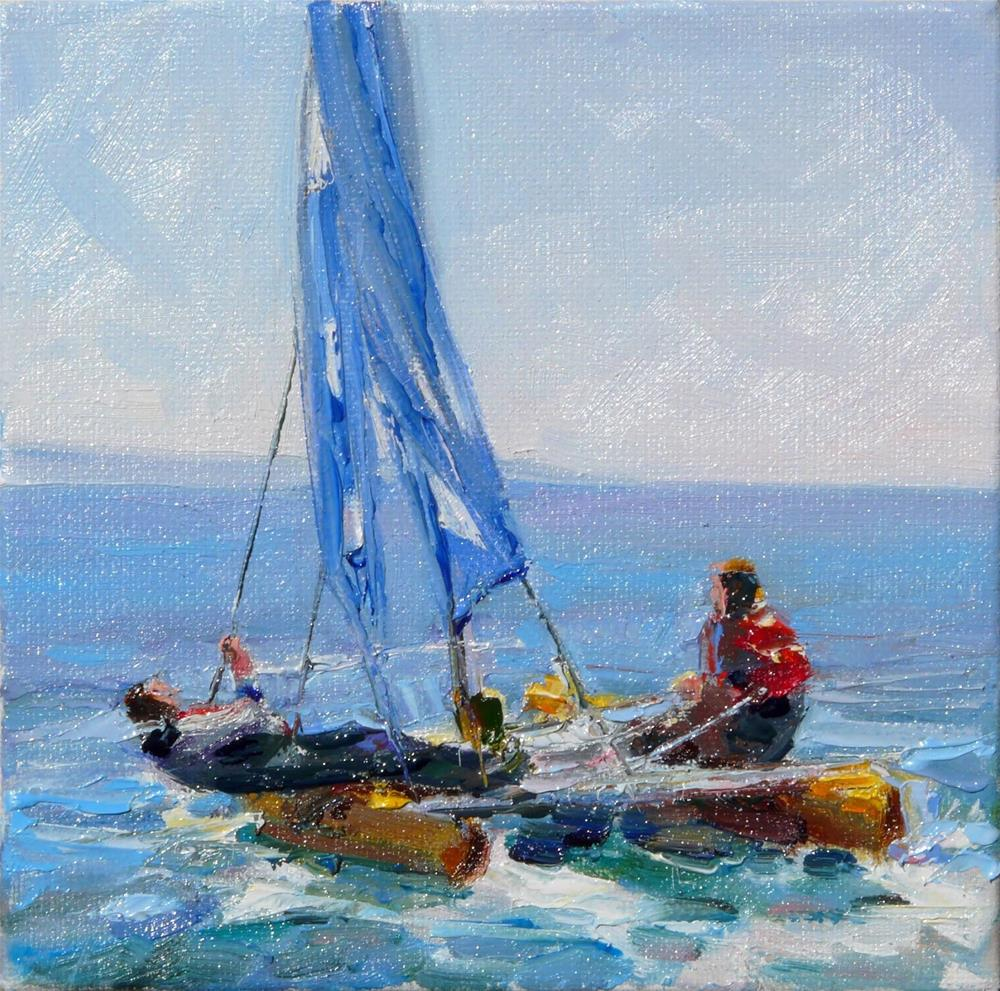 """Fast Boating,figure,oil on canvas,6x6,priceNFS"" original fine art by Joy Olney"