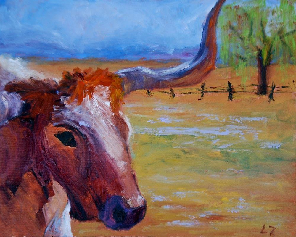 """Hill Country Longhorn"" original fine art by Liz Zornes"