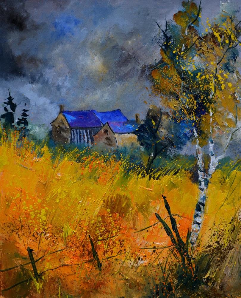 """Old houses"" original fine art by Pol Ledent"