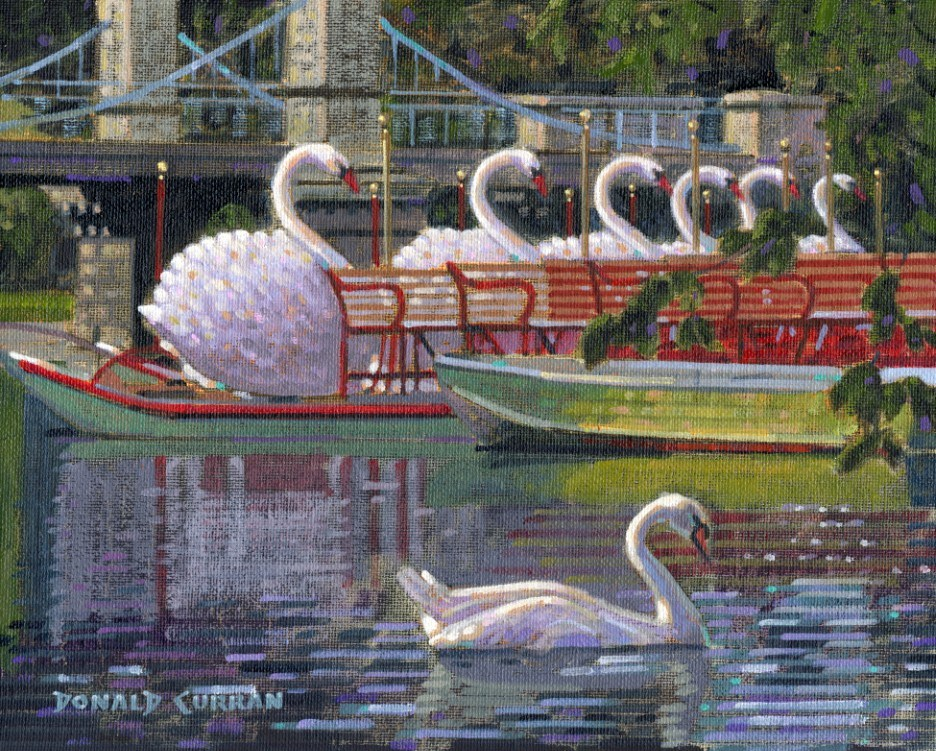 """Boston Swan Boats"" original fine art by Donald Curran"