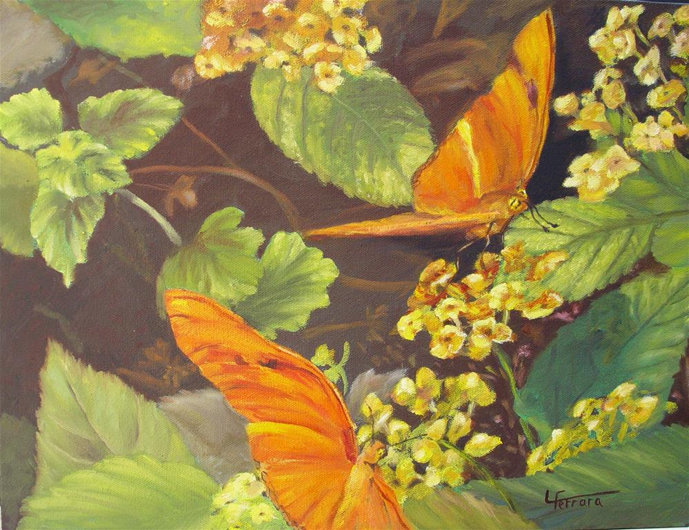 """Frittilaries and Lantana"" original fine art by Lina Ferrara"