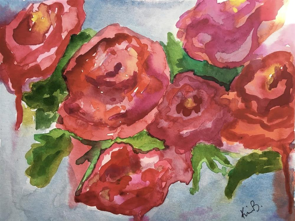 """#27- #30in30  Red Roses, Red Roses"" original fine art by Kimberly Balentine"
