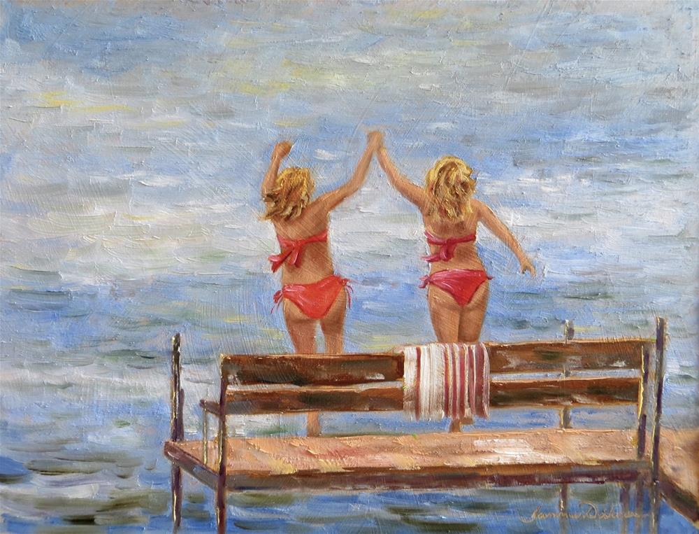 """Sisters at the Lake"" original fine art by Tammie Dickerson"