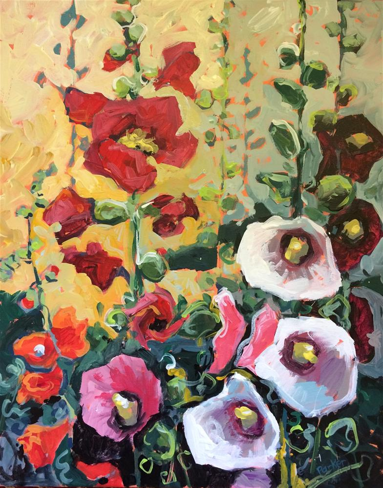 """Hollyhocks"" original fine art by Teddi Parker"